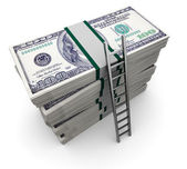 Ladder and money — Stock Photo