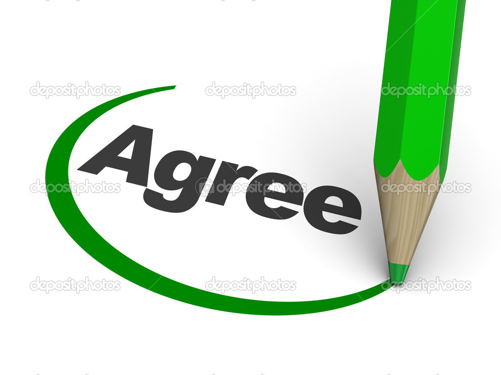 3d illustration of agree sign with pencil — Stock Photo #6046399