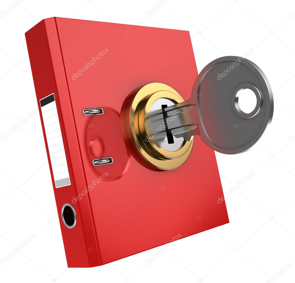 3d illustration of binder folder locked with key — Stock Photo #6403958
