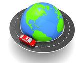 Car around world — Stock Photo