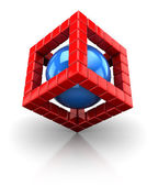 3d cube structure with sphere — Stock Photo