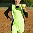 Girl Softball Player — Stock Photo