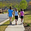 Stock Photo: Three Young Girls Walking