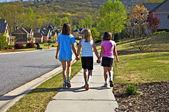 Three Young Girls Walking — Stock Photo