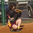 Catcher Girl's Softball — Stock Photo