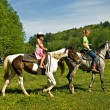 Stock Photo: Girls Riding Horses