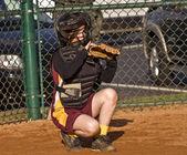 Catcher Girl's Softball — Stock Photo