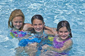 Three Cute Girls in a Pool — Stock Photo