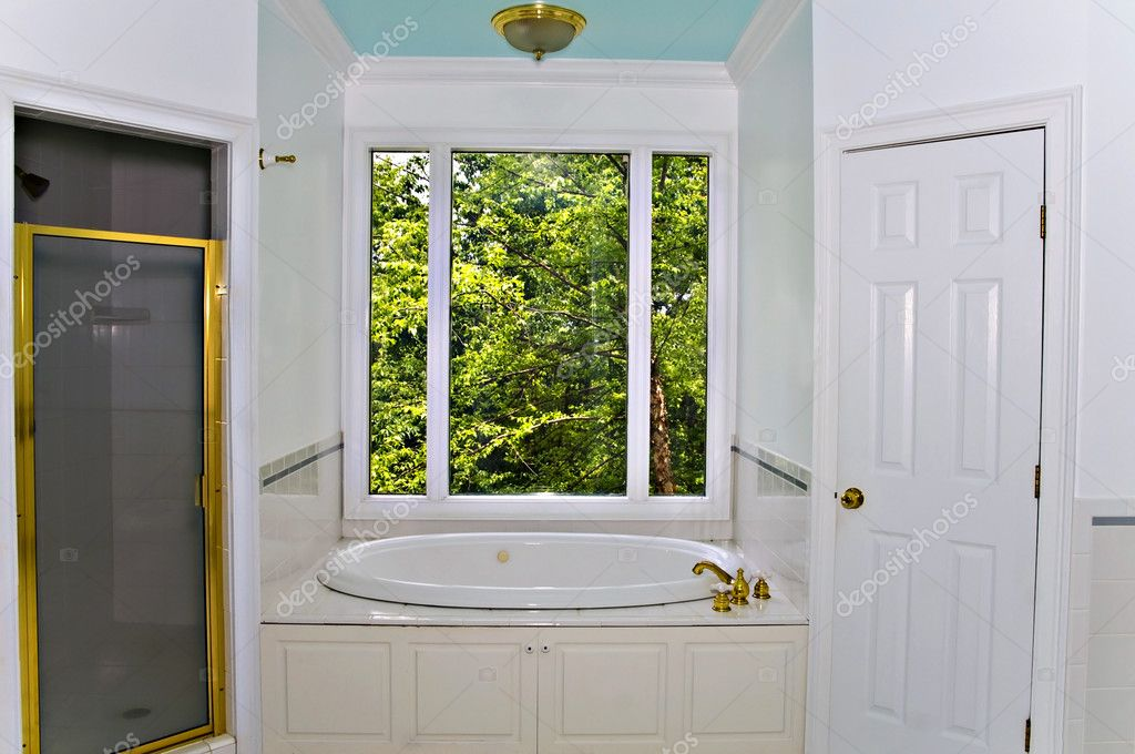 Interior of a Jacuzzi tub and surround under a picture window. — Stock Photo #5765825