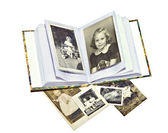 Old Family Photos and Book — Stock Photo