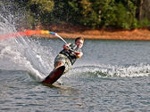 Young Boy on Slalom Ski — Stock Photo