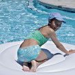 Young Girl Playing in Pool — Stock Photo