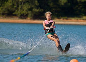 Young Girl Slalom Skiing — Stock Photo