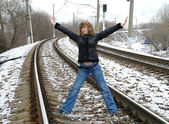The girl on rails in the winter, Moscow — Stok fotoğraf