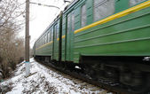 Electric train in Moscow in the winter — Stock Photo