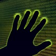 Digital hand touch the cyberspace — Stock Photo