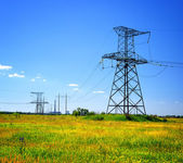 High voltage power line in the field — Stock Photo