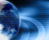 Earth and digital code — Stock Photo
