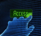 Hand and access button — Stock Photo