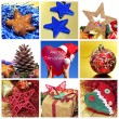 Christmas items collage - Stock Photo