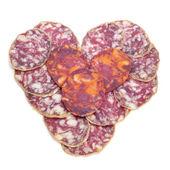 Chorizo and salchichon heart — Stock Photo