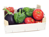 Crate with organic vegetables — Stock Photo