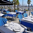 Restaurant terrace in Barcelona, Spain - Stock Photo