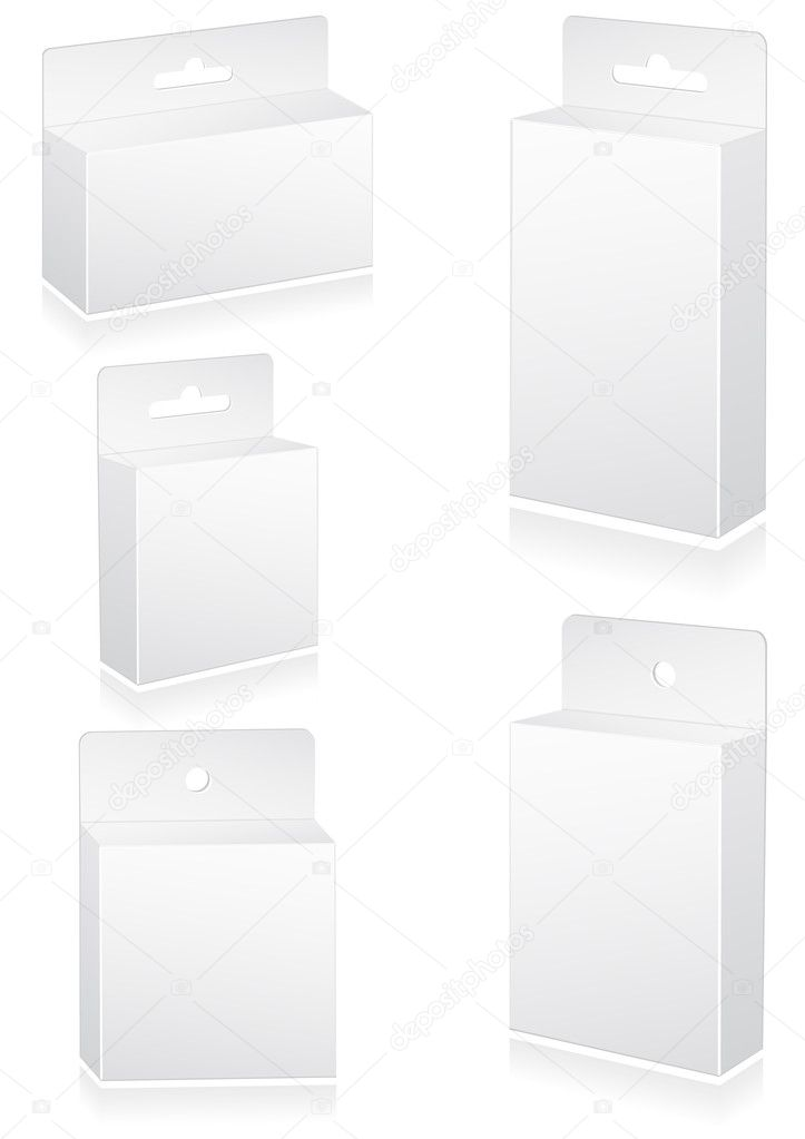 Vector illustration set of blank retail boxes with hang slot. All objects are isolated. Colors and transparent background are easy to adjust. — Stock Vector #6063638