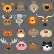 Stock Vector: Cartoon animal heads icon set