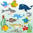 Cartoon fish set — Vector de stock