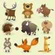 Wild animals set #2 (Forest) — Stock Vector