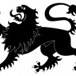 Stock Vector: Silhouette of heraldic lion #2