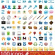 Stock Vector: Hundred shiny vector Icons