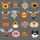 Cartoon animal heads icon set — Stock Vector