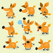 Funny cartoon fox set — Stock Vector