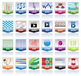 Ensemble d'icônes de documents — Vecteur