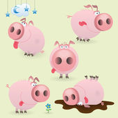 Funny little pig set — Stock Vector