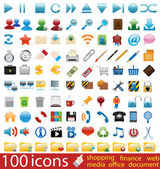 Cien iconos vectoriales brillante — Vector de stock