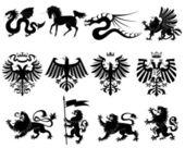 Vector heraldic animals set #2 — Stock Vector