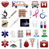 Medical and hospital icons set — Stock Vector