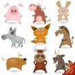 Cartoon animals set #1 - Stok Vektör