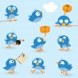Funny blue birds — Stock Vector