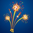 Fireworks and flying rockets — Stock Vector #6191191