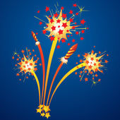 Fireworks and flying rockets — Stock Vector
