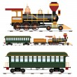 Stock Vector: Retro steam train with coach