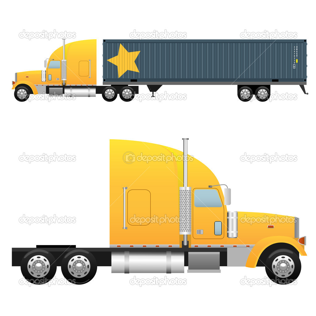 Heavy cargo truck for a international transportation isolated on white background — Stock Vector #6247982