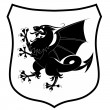 Heraldic dragon - Stock Vector