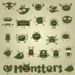 Doodle monster set - Stock Vector
