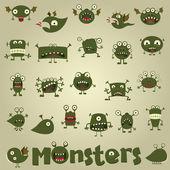 Doodle monster set — Stock Vector