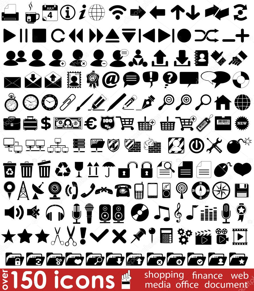 Over 150 web icons for your design — Stock Vector #6602518